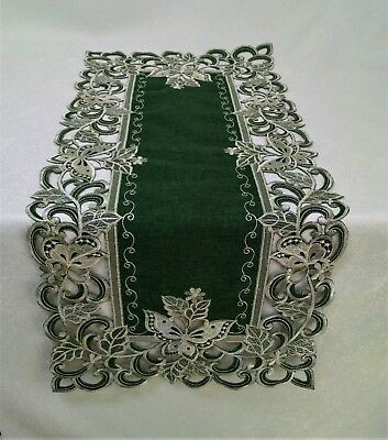 Doily Boutique Table Runner, Mantel Scarf, Doily, with Butterfly on Green - Table Runner Green