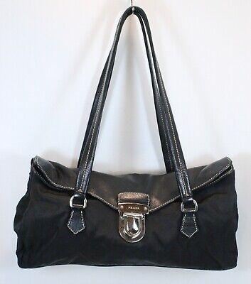 Genuine Vintage PRADA Black Leather Nylon Classic Bag Italy Rare