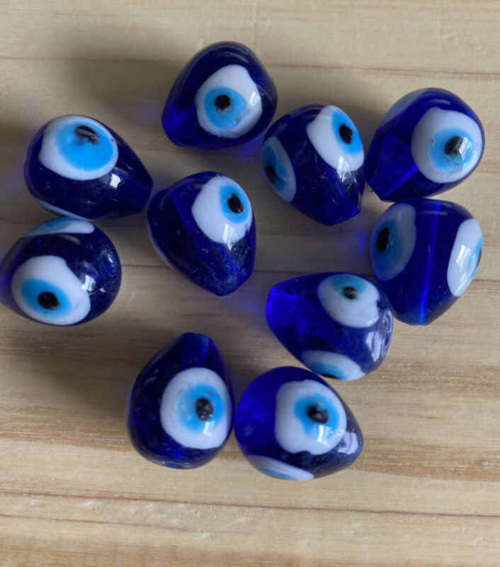 10  EVIL EYE BLUE TEARDROP glass lamp work approx 18mm Beads- DIY Jewelry