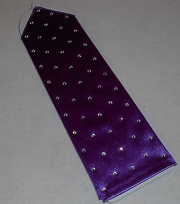 NEW Long PURPLE Satin FINGERLESS RHINESTONES Nylon GLOVES ~ One Size / Unbranded - Purple Satin Gloves