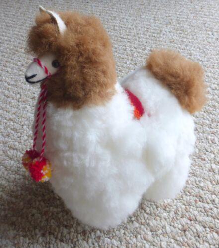 New Genuine Peruvian Handmade Alpaca Llama Stuffed Animal White and Beige