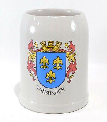 Vintage Wiesbaden Coat of Arms Stoneware Beer Stein Mug .5 Liter W. Germany NICE