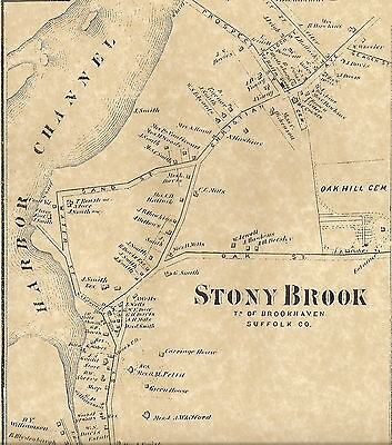 Stony Brook  NY 1873  Map with Businesses and Homeowners Shown