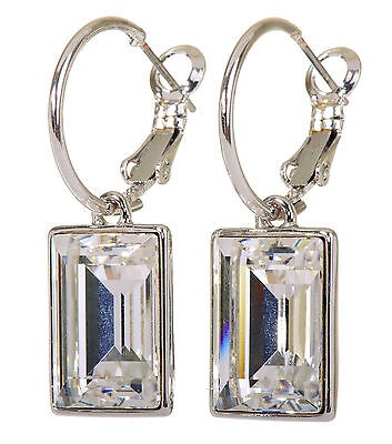 Swarovski Elements Crystal Favor Rectangle Earrings Rhodium Authentic New 7163a Element Jewelry Rectangle Earrings