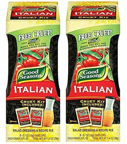Good Seasons Salad Dressing Kits, 2 Cruets, 4 Count Italian Dressing Mixes