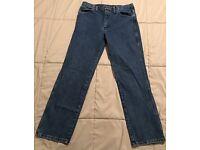 WRANGLER Men/'s Cowboy Cut Slim Fit Dark Wash Blue Denim Jeans 936GBK NWT