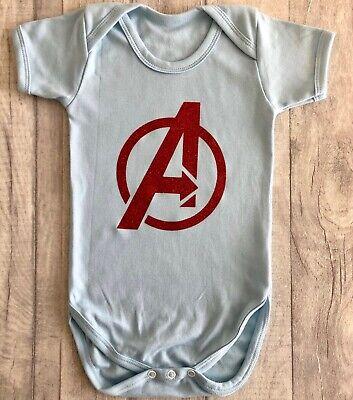 AVENGERS SUPERHERO ROMPER GIFT, Short Sleeve, Red Glitter Avengers Marvel, - Baby Avengers Kostüm
