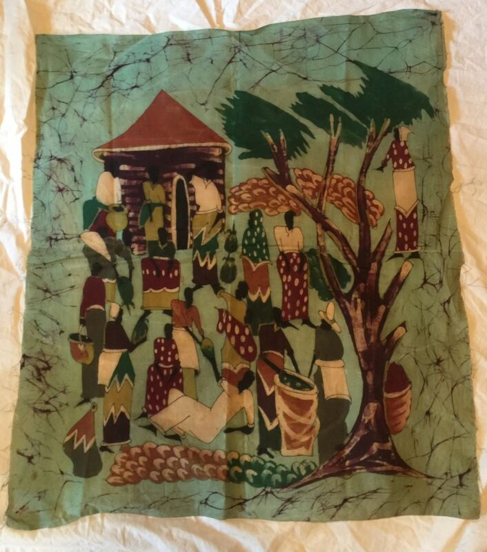 Vintage African Textile Fabric Hand Painted or Printed Village Scene