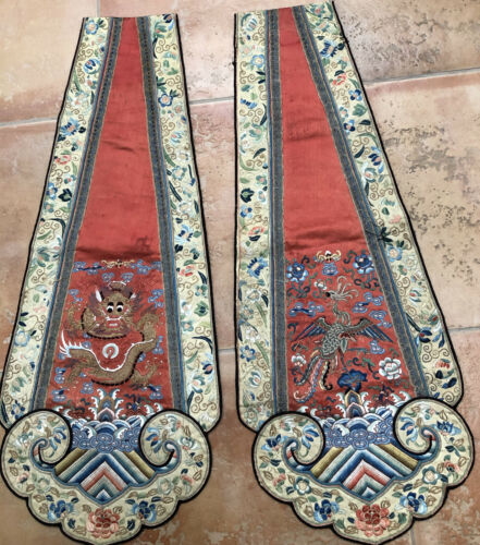ANTIQUE CHINESE EMBROIDERED SILK PANELS SATIN STITCH WRAPPED GOLD THREAD DRAGON