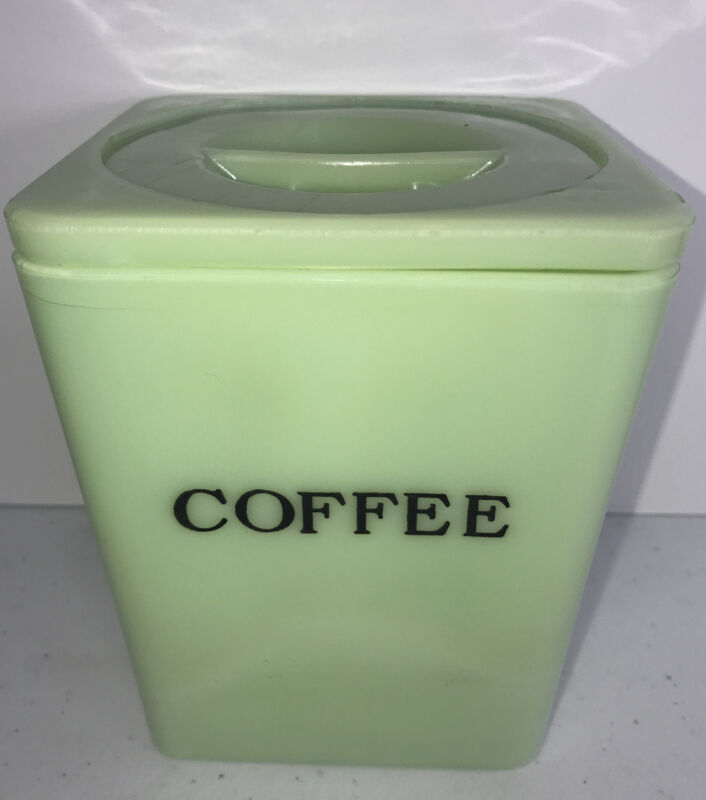 RARE Vintage Fire King Jadeite / Jadite Coffee Canister with Lid READ