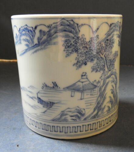 CHINESE BLUE & WHITE PORCELAIN BRUSH POT WITH LANDSCAPE - 19TH CENTURY