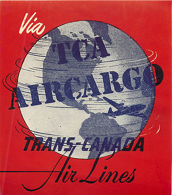 Tca Air Cargo  Trans Canada Airline  Great Old Luggage Label  C  1955