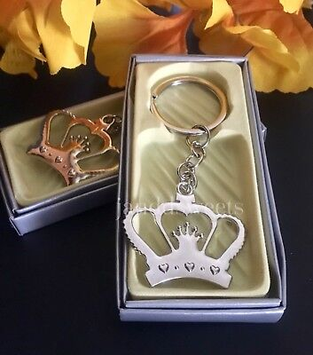 12-Baby Shower Favors Crown Princess Table Decoration Girl Boy Keychains Prince