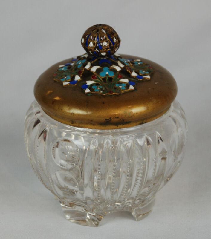 Antique Pattern Glass Jar with Bronze Enameled Lid