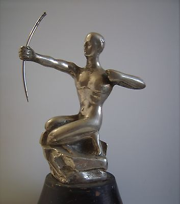 (VNTG Unusual Mid Century Modern Large Statue Nude Male Archer Heavy Art Deco )