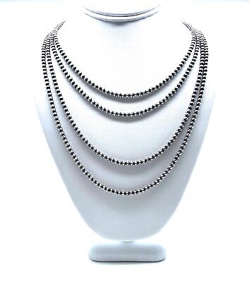 Navajo Pearls Sterling Silver 4mm Beads Necklace