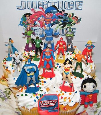 Justice League Cake Toppers Set of 14 with 12 Figures, DC Doll, Hero Ring Fun! - Justice League Cake