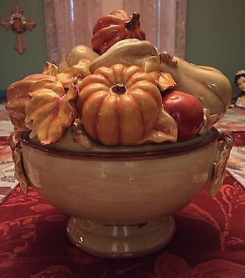 Fitz And Floyd Handcrafted China Harvest Tureen Bowl New In Box Thanksgiving