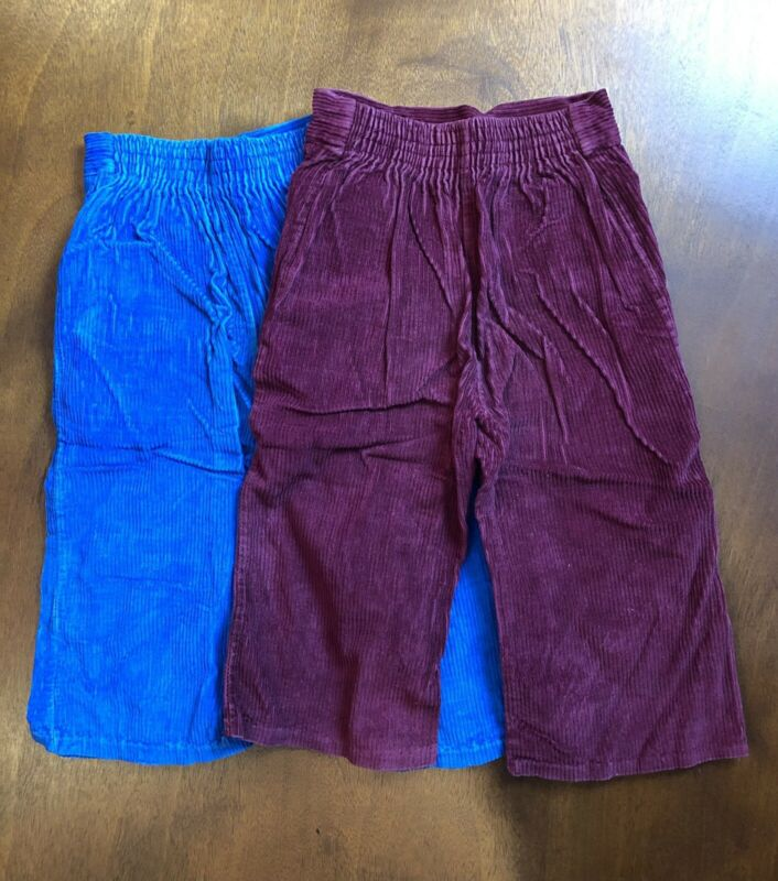 2 Pairs Of Vintage Kids Corduroy Pants 2T Young Mate 100% Cotton