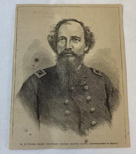 1864 magazine engraving ~ WILLIAM W WOOD Chief Engineer United States Navy