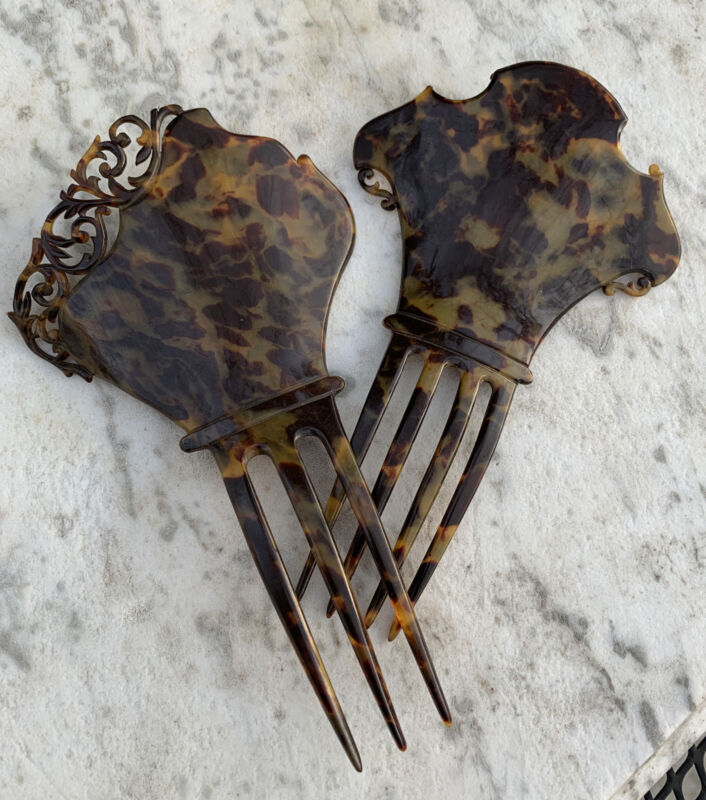 Two 2 Antique Victorian Carved Faux Tortoise Shell Celluloid Ornament Hair Combs