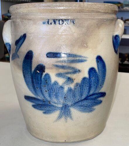 Antique Stoneware Cobalt Blue DECORATED 1 Gallon Crock Lyons NY Excellent Clean