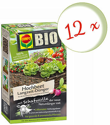 Savings Set: 12 x Compo Organic Raised Bed Long-Term Fertilizer with Sheep's