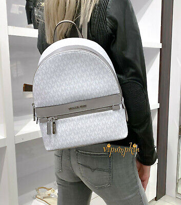 MICHAEL KORS KENLY MEDIUM BACKPACK MK LOGO SIGNATURE BRIGHT WHITE