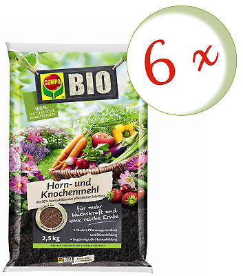 Savings Set: 6 X Compo Organic Horn And Bonemeal, 2,5 KG