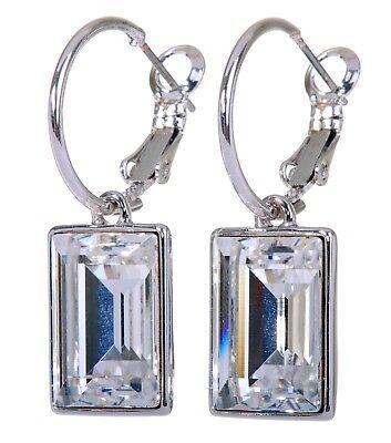 Swarovski Elements Crystal Favor Rectangle Earrings Rhodium Authentic New 7163u Element Jewelry Rectangle Earrings