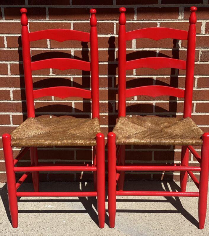 Two Vintage Wood Wicker Repurposed Chairs