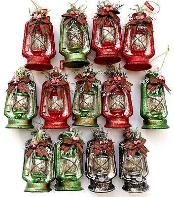 LOT 13 Kerosene Lanterns Glass Christmas Tree Ornament Red Green Country Rustic