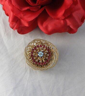 Vintage Gold tone Rhinestone Bird's Nest  Pin Brooch CAT RESCUE