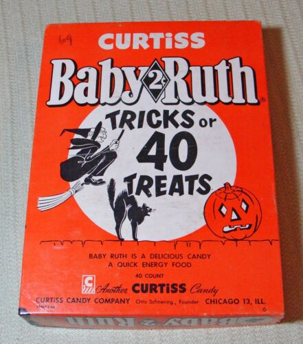 Vintage Baby Ruth Candy Bar Box Curtiss Halloween Trick Or Treats 2 Cent Display