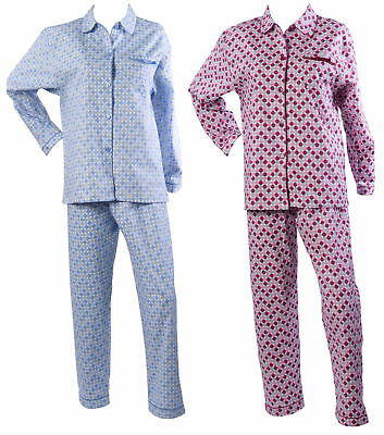 Womens Polka Dot Pyjamas Ladies Brushed Cotton Button Up Spots PJs Nightwear Set ()