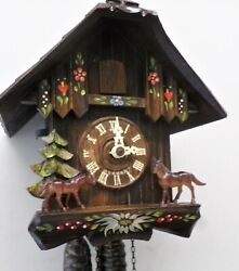 STUNNING WORKING GERMAN BLACK FOREST ANTON SCHNEIDER HORSES CHALET CUCKOO CLOCK!