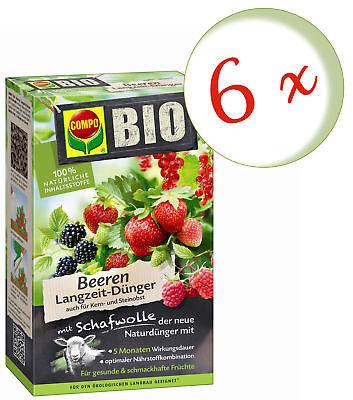 Savings Set: 6 X Compo Organic Berries Long-Term With Wool, 2 KG