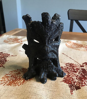 Halloween Scary Spooky Tree Tea Light Votive Candle Holder Black Glitter Resin