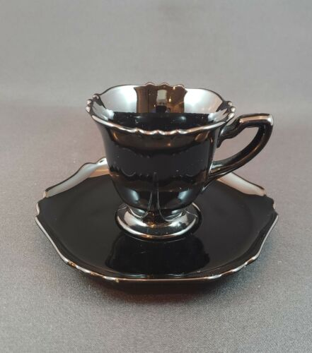 Cambridge Glass Demitasse 3400 line cup and saucer Ebony black glass