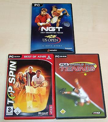 3 PC SPIELE SAMMLUNG - TOP SPIN - NGT NEXT GENERATION TENNIS US OPEN - FILA TOUR (Generationen Topspin)