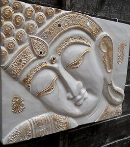 AMAZING CARVED WOOD THAI BUDDHA FACE WALL ART PLAQUE SIZE 30 cm x 40 cm HOME
