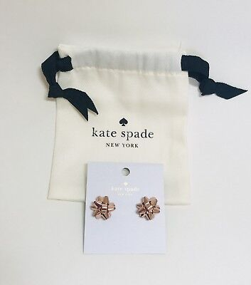 NWT Kate Spade Bourgeois Bow Rose Gold Pave Stud earrings With Dust Bag