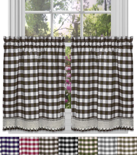 Buffalo Check Gingham Kitchen Curtain Tier Pair  – 36″ x 58″ Curtains & Drapes