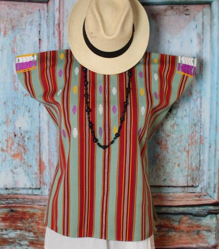 Mexican Huipil Tunic Handwoven & Hand Embroidered Mayan Chiapas Pantelho Hippie