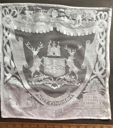 Vintage Nottingham lace souvenir panel COLLECTOR DECOR