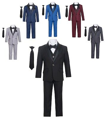 Boys Tuxedo Slim Fit Shawl Collar 7 Piece Formal Suit Set Size 12 Months - 18