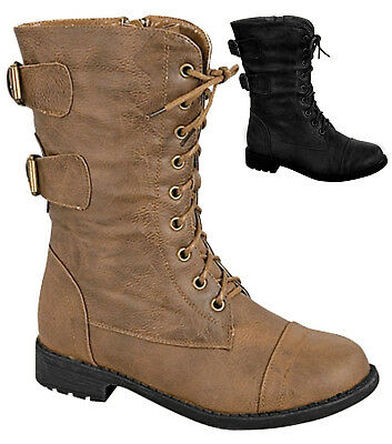 NEW Baby Lace Up Combat Boots Military Buckle Zipper Low Heel Toddler Size Shoes (Toddlers Combat Boots)