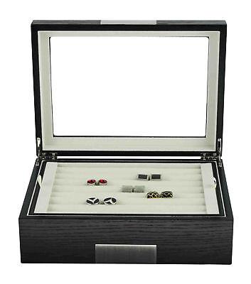 Black Ebony Wood 72 Cufflink Case Ring Organizer Stainless Steel Jewelry Box 72 Ring Case Jewelry Box