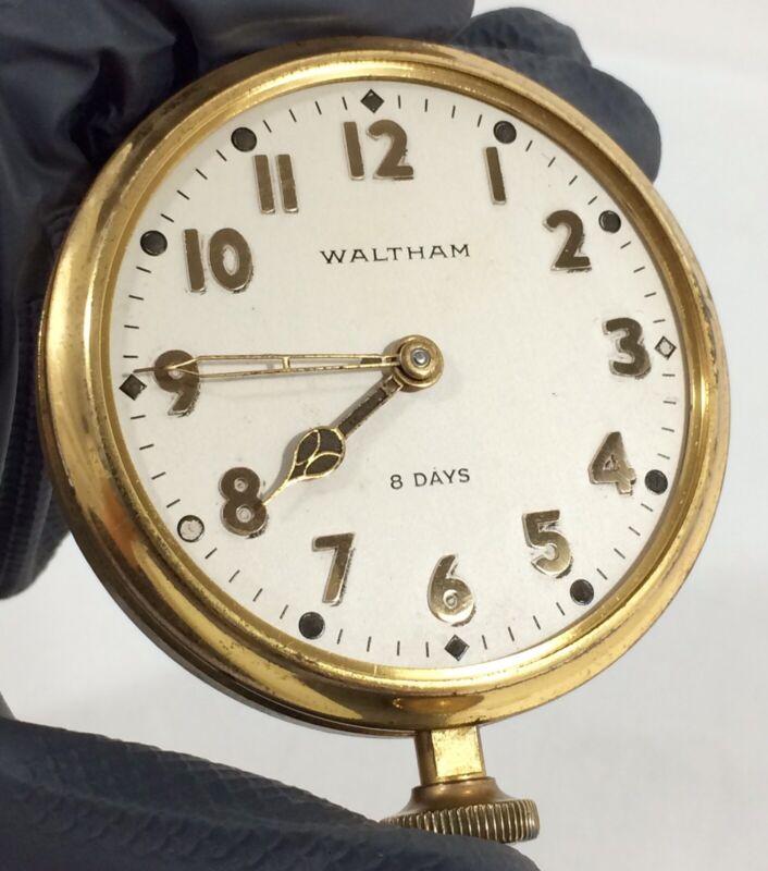 1933 Waltham 8 Days Aircraft Car Clock 7 Jewels 37s Large Watch Vtg REPAIR PARTS