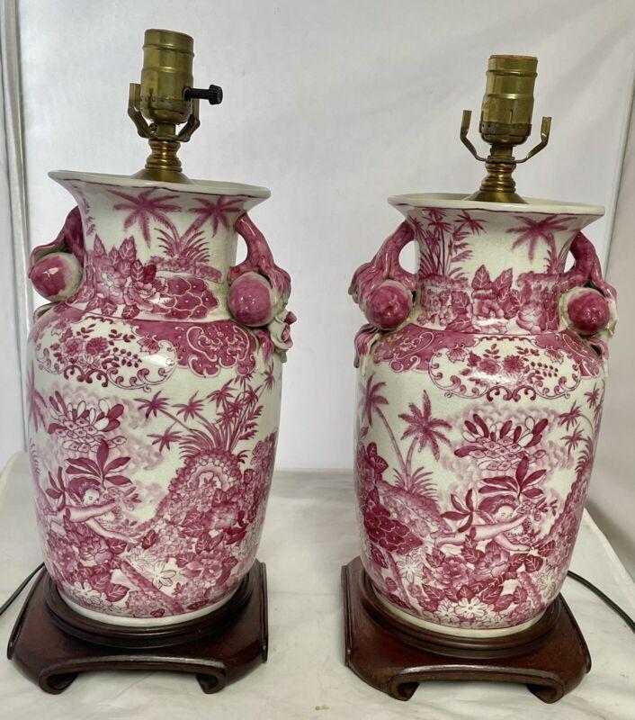 Fine Pair Vintage Designer Oriental Lamps Porcelain